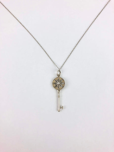 TIFFANY & CO. Tiffany Keys Collection Sterling Silver Daisy Diamond Key Pendant
