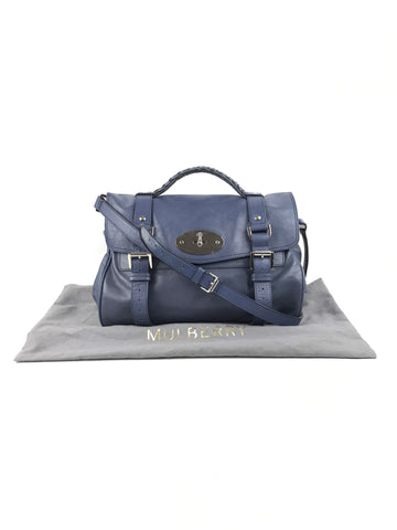 MULBERRY Blue Grained Leather Alexa Bag W/SHW
