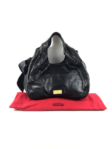 VALENTINO Black Leather Hobo Bow Bag W/GHW