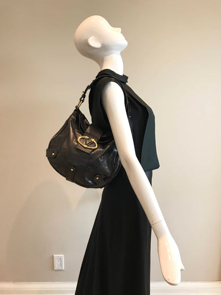 VALENTINO Black Leather Shoulder Flap Bag W/GHW