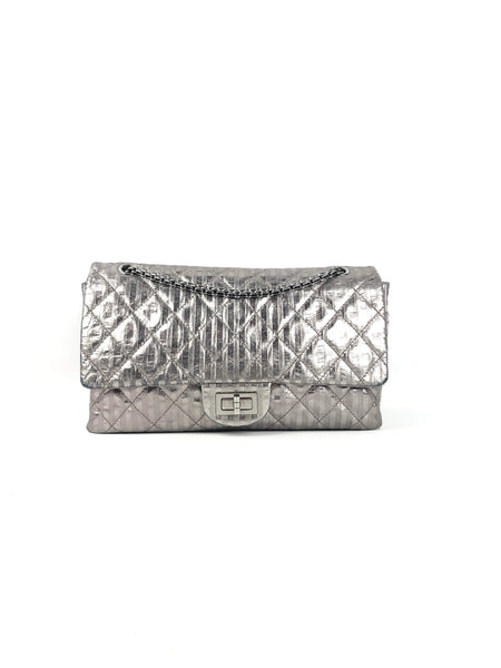 CHANEL Gris Aluminum Stripes Reissue 227 Bag W/SHW (2008)