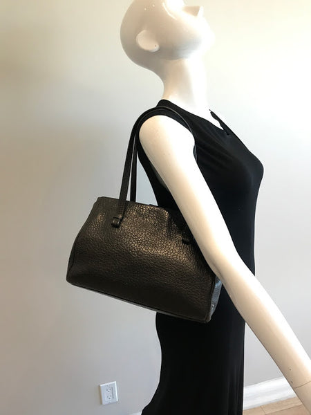 PRADA Brown Grained Leather Shoulder Bag W/GHW