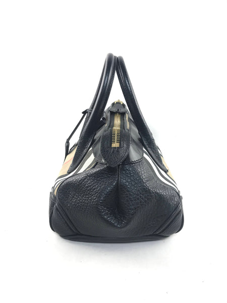 Burberry Prorsum Bow Detail House Check Medium Tote Black Leather Bag w/GHW