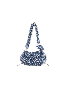 PRADA Blue/Navy/White Heart Patterned Silk Shoulder Bag