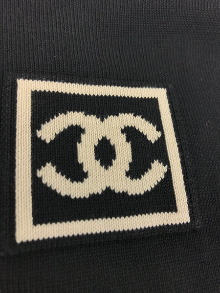 CHANEL Black Cotton T-Shirt W/ CC Logo