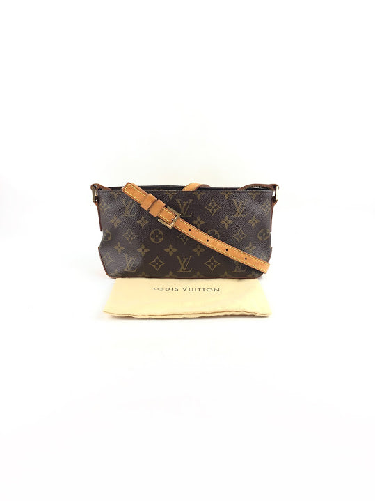 LOUIS VUITTON Monogram Canvas Pochette W/Long Leather Strap