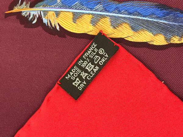 "HERMES  Red, Purple Feather Pattern ""Plumes II"" Silk Scarf"
