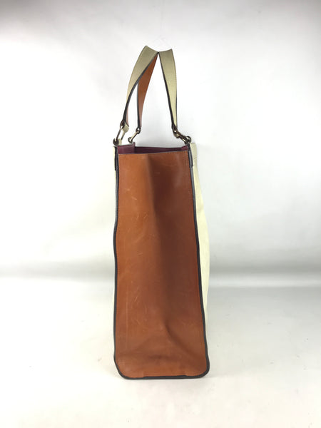 CHLOE Taupe Suede/Brown & Burgundy Leather Shopping Tote