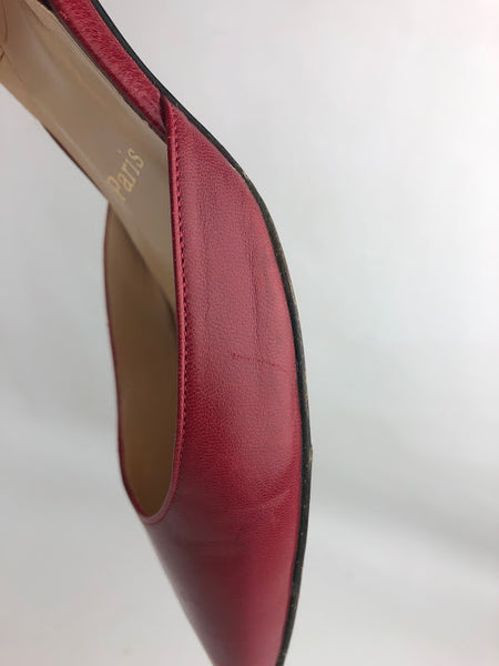 CHRISTIAN LOUBOUTIN Red Smooth Leather Kitten Slingback Heels