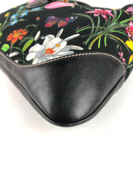 GUCCI Black Floral Canvas W/ Black Leather Trim Jackie Small Hobo Bag