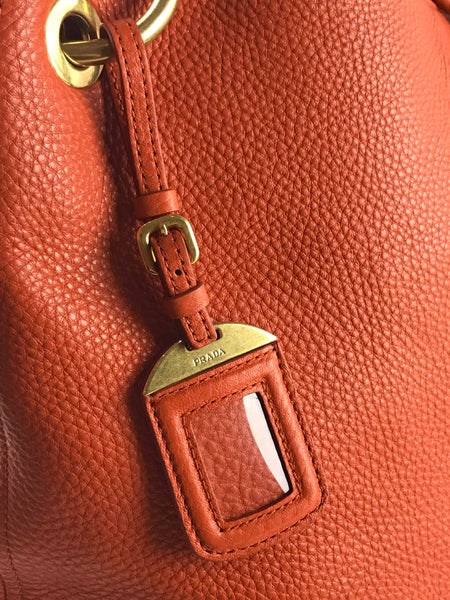 PRADA Orange Grained Leather Hobo Tote