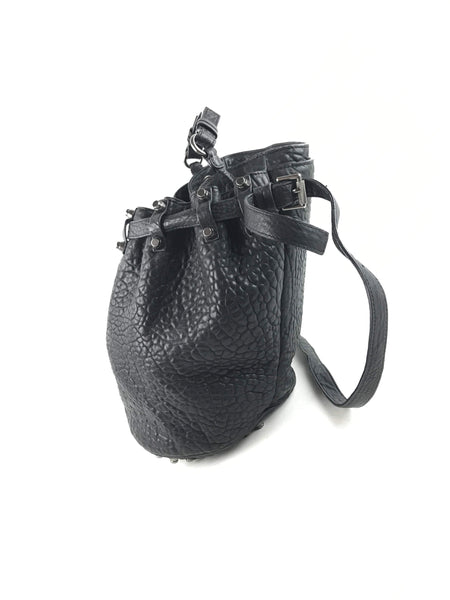 ALEXANDER WANG Black Grained Leather W/ RHW Spikes Bucket Bag