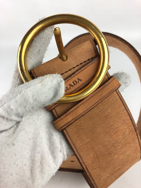 PRADA Tan Leather Wide Belt