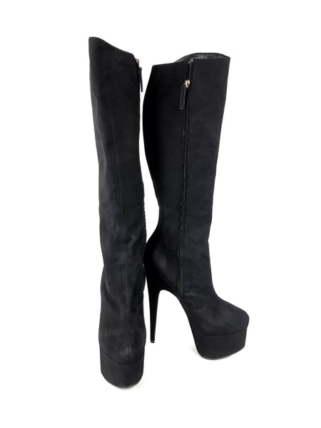 Giuseppe Zanotti Black Suede Platform Heeled Knee-High Boots