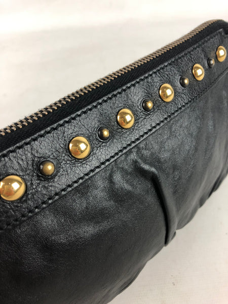 GUCCI Black Leather Hysteria Pouch Bag