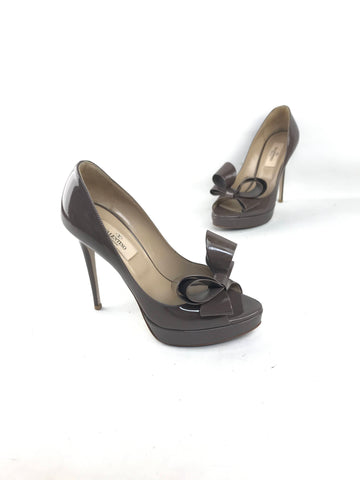 Valentino Patent Open toe Platform Bow Pumps
