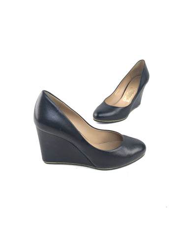 Salvatore Ferragamo Fiamma Black Leather Wedge Pump