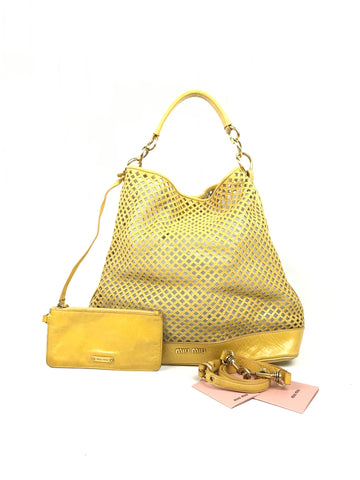 Miu Miu Yellow Perforated Hobo Bag w/GHW