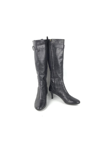 BURBERRY Chocolate Brown Grained Leather Kitten Heeled Boots