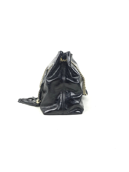 Gucci Black Patent Soho Chain Shoulder Bag W/GHW