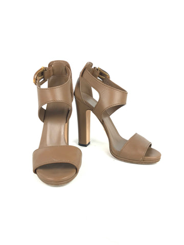 Gucci Brown Leather Bamboo Buckle Ankle Strap Sandals