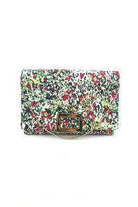 ROGER VIVIER Floral  Printed Canvas Envelope Clutch W/Removable Chain Strap