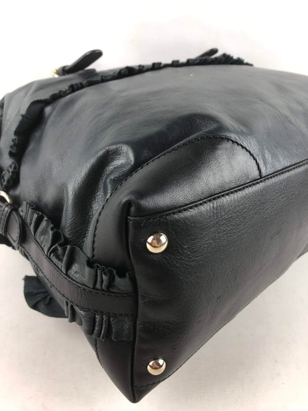 GUCCI Dark Green/Black Leather Sabrina Medium Boston Bag