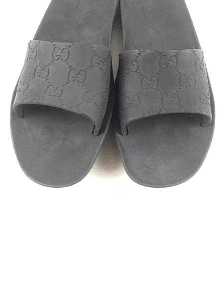 GUCCI Black Rubber Slides W/GG Embossing