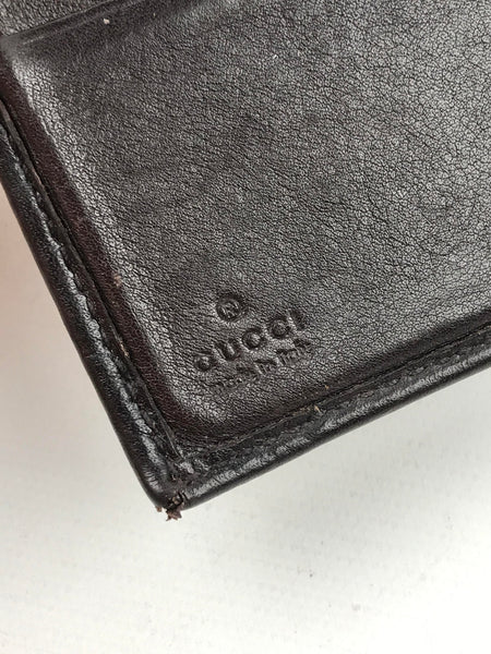 GUCCI Brown Guccissima Embossed Leather Logo Compact Wallet