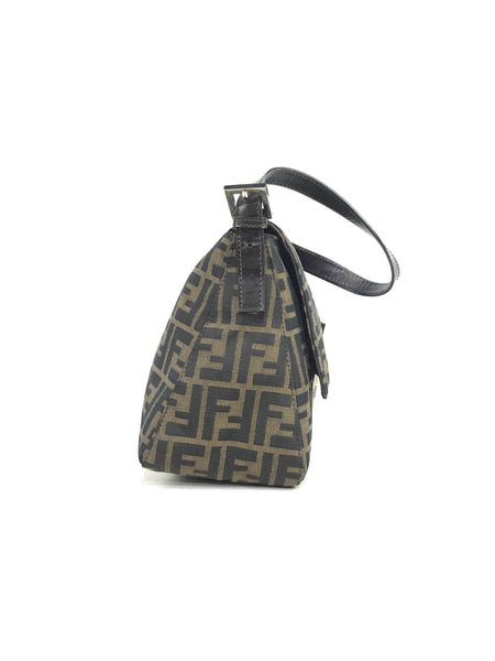 Fendi Vintage FF Canvas Flap Shoulder Bag w/SHW