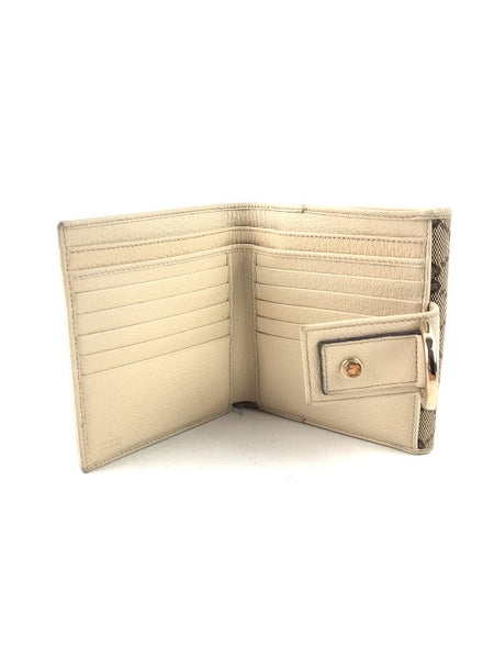 GUCCI GG Logo Canvas Bifold Wallet W/ Nude Grained Leather & GHW Horsebit Closure