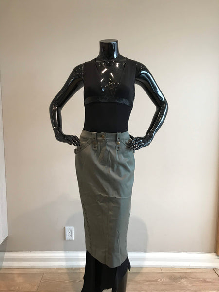 CHRISTIAN DIOR Olive Green Pencil Skirt W/ Pockets