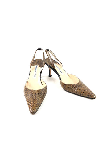 MANOLO BLAHNIK Brown Snakeskin Pointy Toe Sling Back Heels