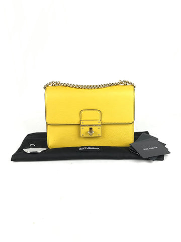 Dolce & Gabbana Bright Yellow Rosalia Leather Shoulder Bag W/GHW