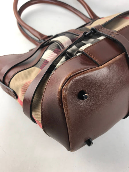 Burberry Nova Check Fabric/Brown Leather Shoulder Bag w/ RHW