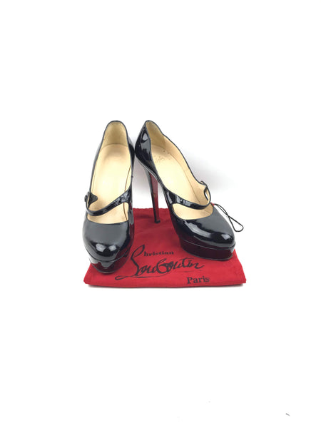 CHRISTIAN LOUBOUTIN Black Patent Leather Mary Jane Platform Pumps