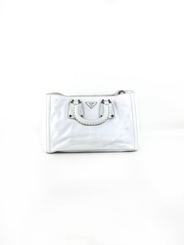 Prada White Smooth Leather Top Handle Bag w/SHW