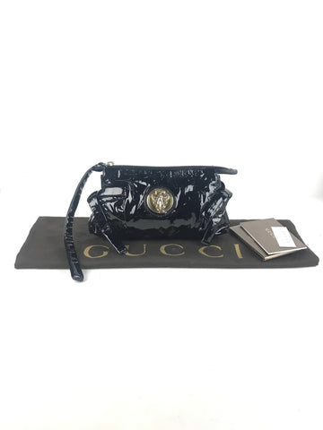 Gucci Black Patent Leather Hysteria Clutch Bag W/GHW
