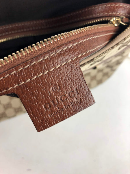 GUCCI Monogram Canvas Bamboo Handle Leather Trim Bag
