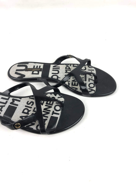 LOUIS VUITTON Black Rubber Slides