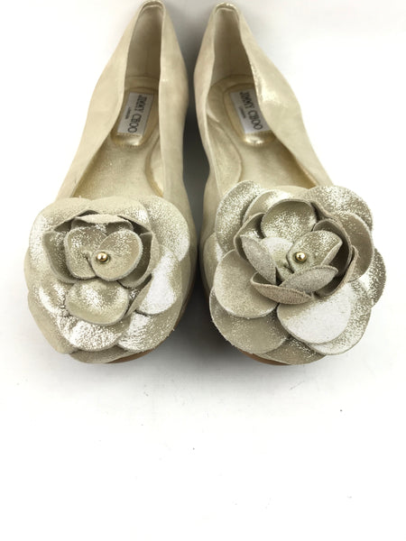 JIMMY CHOO Light Gold Metallic Ballet Flats w/Flower Detail