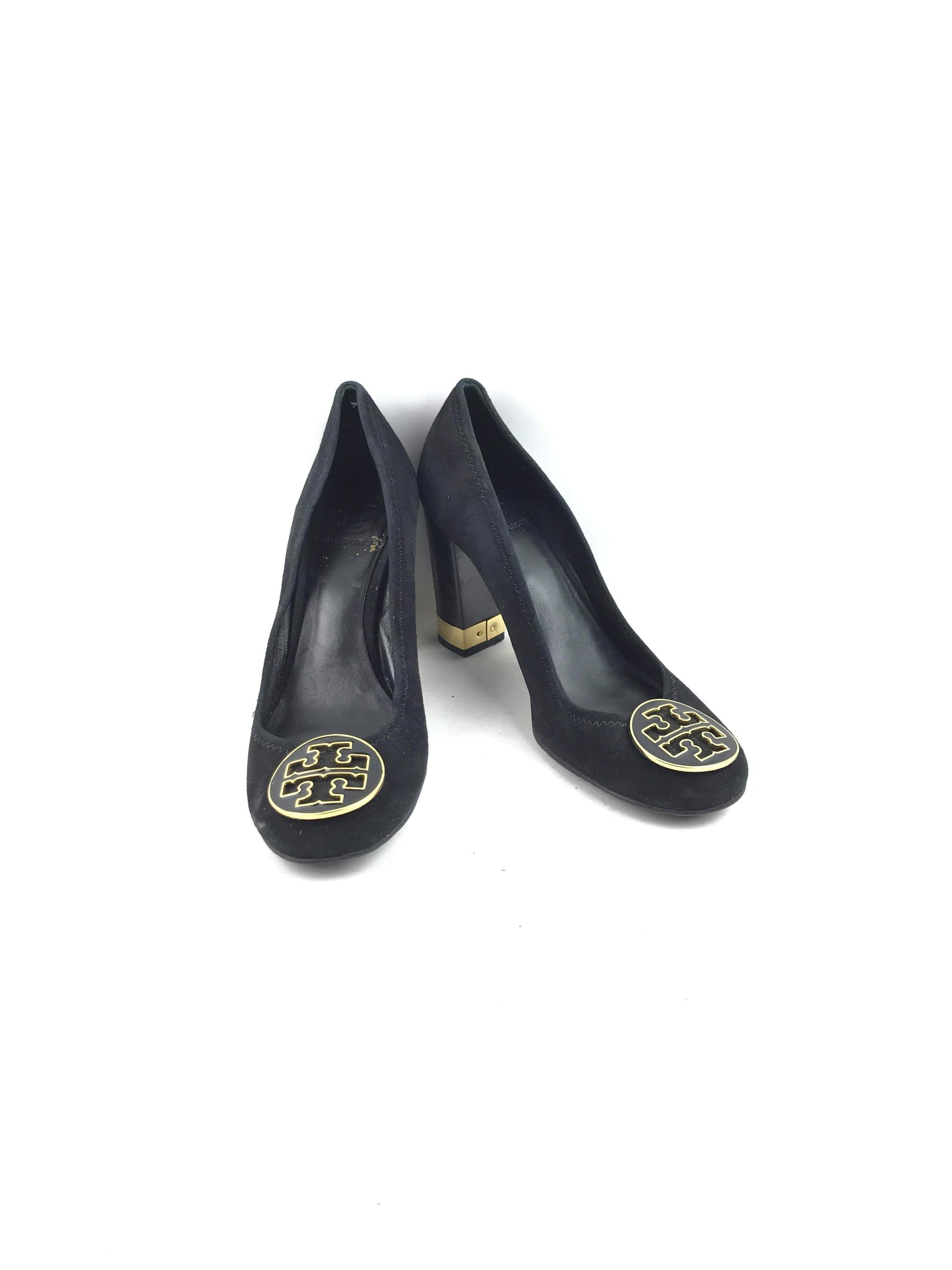 TORY BURCH Black Suede Leather Maddie Pump Block Heel