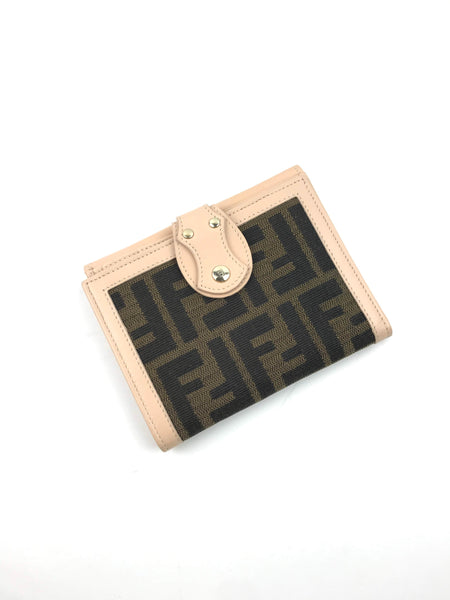 FENDI Zucca Square Bifold Leather/Fabric Wallet