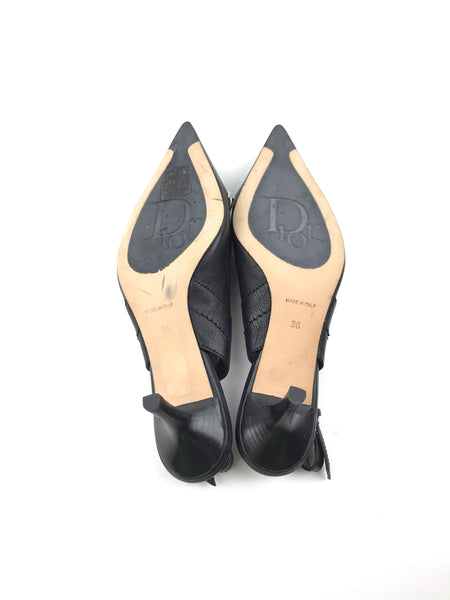 CHRISTIAN DIOR Black Leather Sling Back Kitten Heels