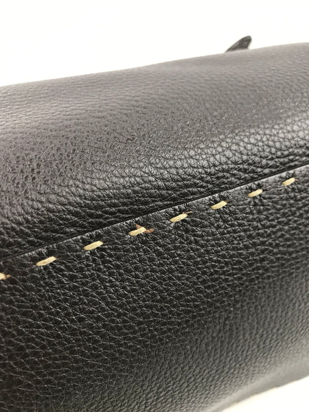 FENDI Dark Brown Pebbled Leather Bag w/Embossed Horse Detail & Beige Stitching