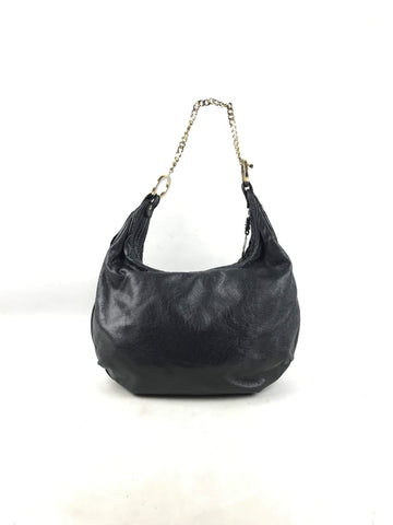 FENDI Crinkled Black Leather Small Shoulder Bag W/GHW Chain Strap