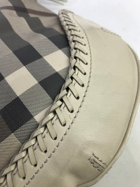 Burberry Nova Check Beige Coated Canvas w/ woven leather accent tassel Parade Hobo bag w/AGHW
