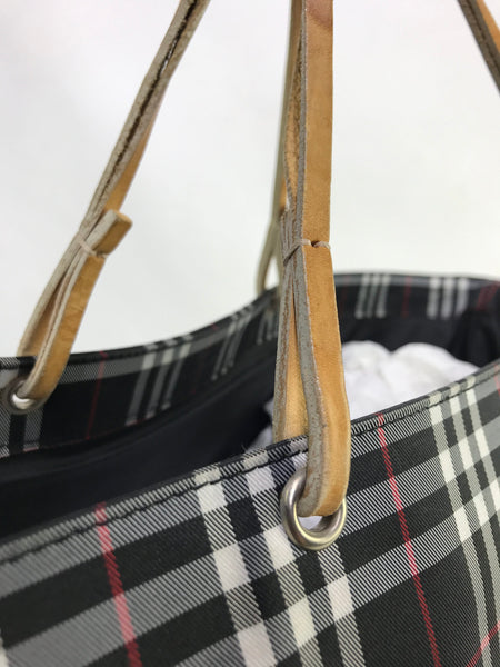 Burberry London Black Check Shoppers Tote w/ leather straps