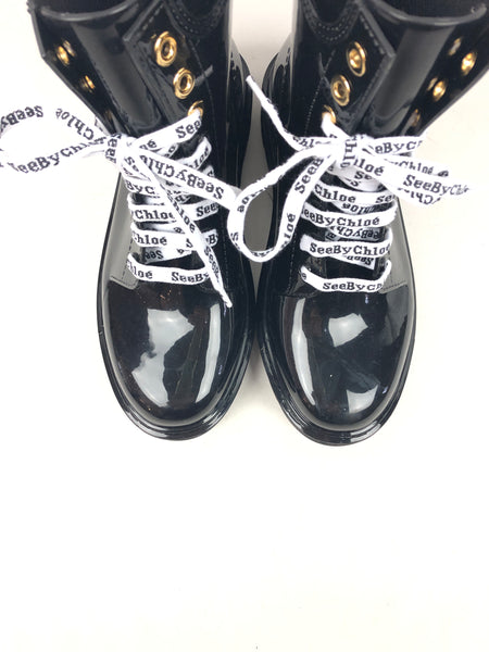 SEE BY CHLOE Black Rubber Combat Boots W/White Laces