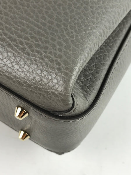 GUCCI Grey Dollar Calfskin Interlocking Shoulder Bag